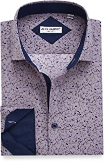 Alex Vando Mens Printed Dress Shirts Long Sleeve Regular Fit Casual Button Down Collar Shirt