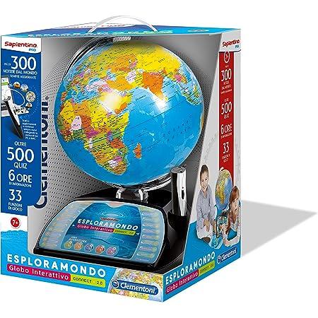 Clementoni 11992, Sapientino, Esploramondo Connect 2.0, Globo Interattivo, Mappamondo con Penna Interattiva, Gioco Educativo Elettronico Bambini 7 anni (Versione in Italiano)