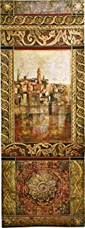 New Enchantment I by John Douglas - Woven Tapestry Wall Art Hanging - Rich Elaborate Mediterranean Seascape Villa - 100% Cotton USA Size 69x25