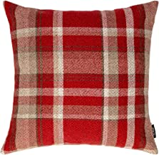 McAlister Textiles Heritage Pillow Case | Red Tartan Check Decorative Wool Feel Throw Square Scatter Sofa Cushion | Size - 20 x 20 Inches