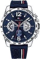 ساعة تومي هيلفيجر بمينا ازرق وسوار مطاطي للرجال - 1791476