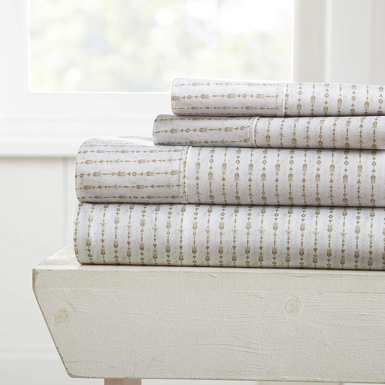 Becky Cameron Premium Ultra Soft Beaded Arrows Pattern 4 Piece Bed Sheet Set, Queen, Sage