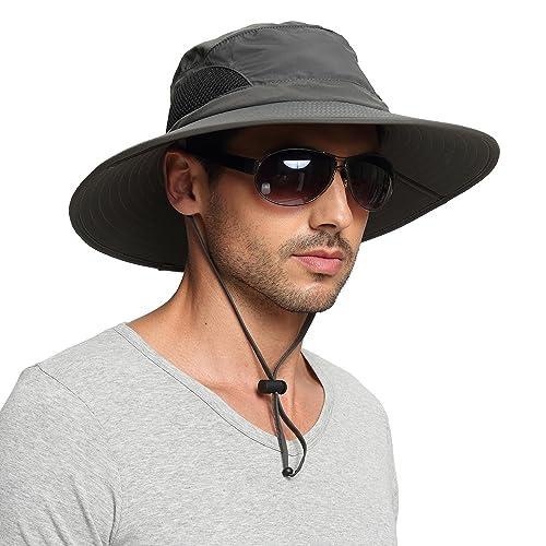 91168558c7c EINSKEY Wide Brim Sun Hat Summer UV Protection Beach Hat Showerproof Safari  Boonie Hat Foldable Fishing