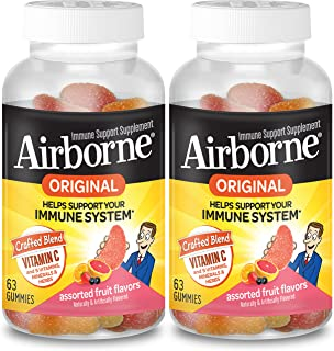 Airborne Assorted Fruit Gummies - Vitamin C 750mg (per Serving) (2x63 Count in a Bottle), Gluten-Free Immune Support Suppl...