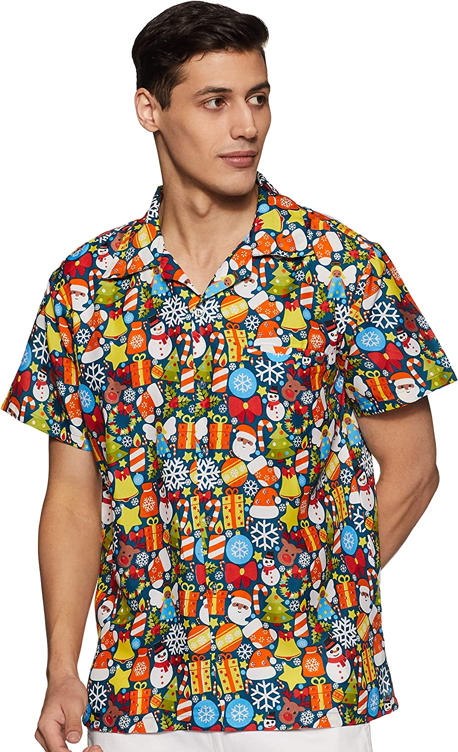 Stylore Christmas Shirt for Men Hawaiian Relaxed-Fit Vacation Multiple Color