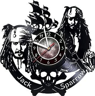 Jack Sparrow Captain - Wall Clock Made Of Vinyl Record - Original Decor - Unique Design - Incredible Gift Idea For Christmas Birthday Anniversary Women Men Boyfriend Girlfriend Teens Friends