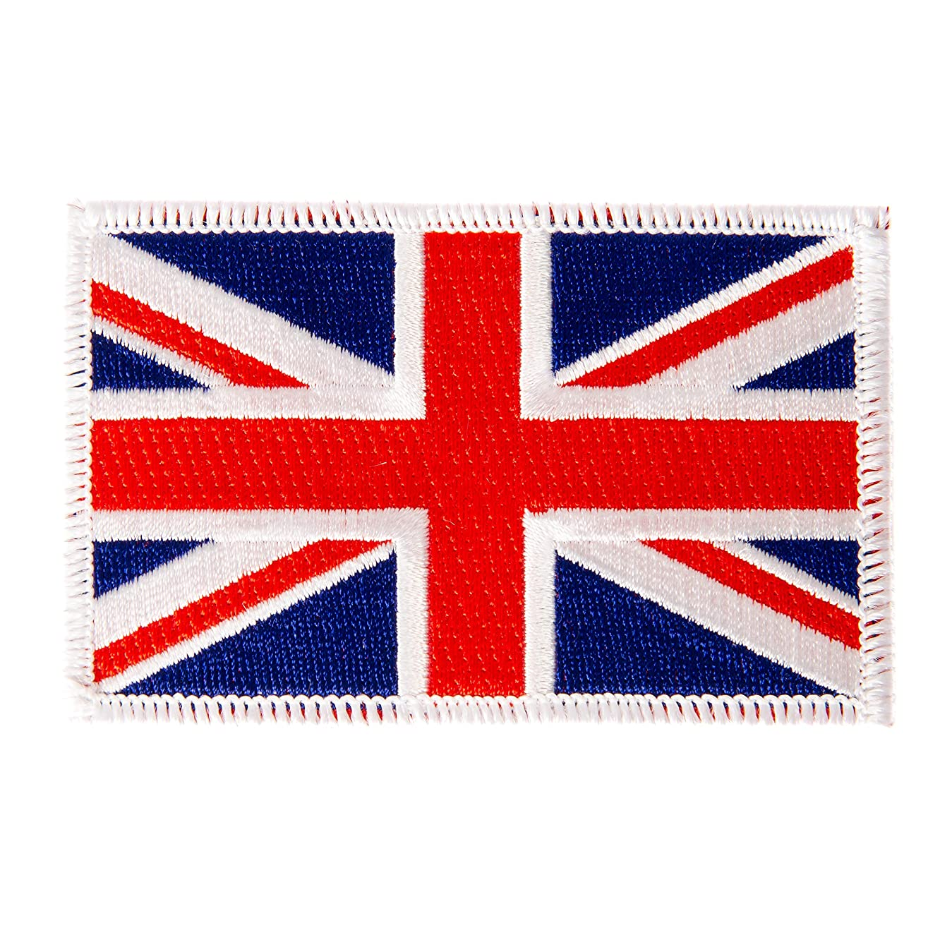 United Kingdom UK Flag Patch Single 3.5Wx2.25H Iron On Sew Embroidered Tactical Morale Back Pack Hat Bags (Single Patch)
