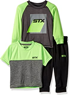 STX Fashion baby-boys Long Sleeve Color Block Tee, Short Sleeve Tee, and Jogger Pants Set