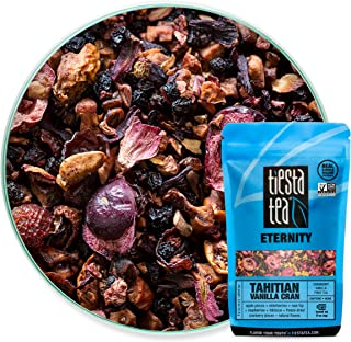 Tiesta Tea Tahitian Vanilla Cran, Cranberry Vanilla Fruit Tea, 30 Servings, 2.2 Ounce Pouch, Caffeine Free, Loose Leaf Herbal Tea Eternity Blend, Non-GMO
