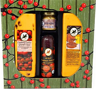 Cranberry Summer Sausage and Cheese Gift Basket Food Gift Baskets For Christmas, Holiday, Thanksgiving, Fall, Women, Men, ...