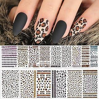 Kalolary 15 Vellen Luipaardprint Nagelstickers, 3D Sexy dier zelfklevende nagelsticker Nagelkunst sticker voor Vrouwen Nag...