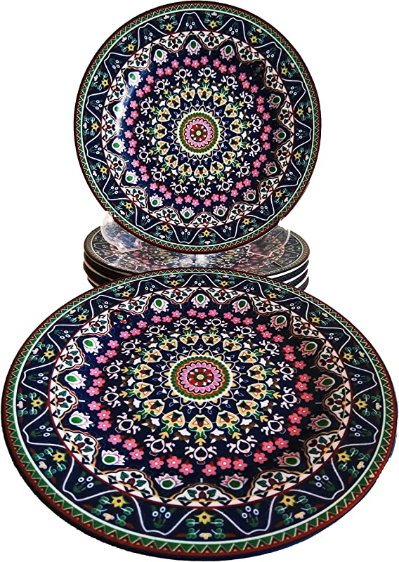 MGHSD Persian Porcelain 6 Piece Dessert Plates Elegant Serving Plate Set For Salad Pasta And More 7 3 Inches 6 NAVY BLUE