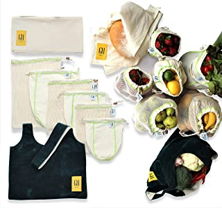 Reusable produce bags Organic Cotton Unbleached Mesh & Muslin 8 pc premium set. Durable & Machine washable w/tare weights on tags. Reduce plastic waste w/this Eco Friendly sustainable Zero waste set