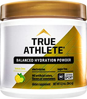 True Athlete Balanced Hydration Powder, Lemon Lime Flavor, Promotes Hydration Before Exercise, Easy to Mix, NSF Certified ...