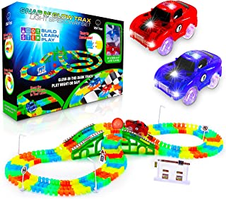 Sponsored Ad - USA Toyz Glow Race Tracks and LED Toy Cars - 360pk STEM Building Glow in The Dark Bendable Rainbow Race Tra...