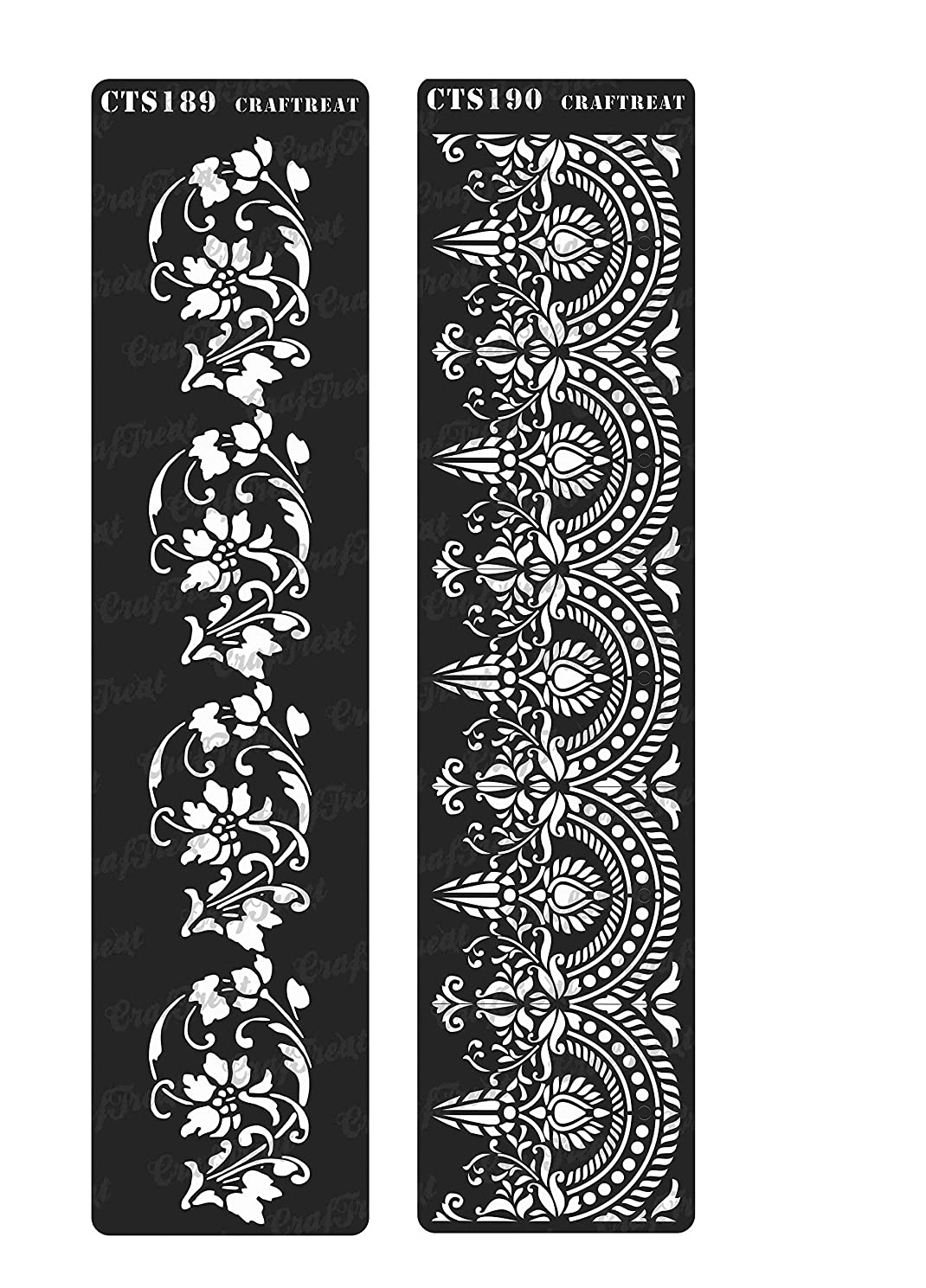 CrafTreat Stencil - Border 3 & 4 (2 pcs) | Reusable Painting Template for Home Decor, Crafting, DIY Albums and Printing on Paper, Floor, Wall, Tile, Fabric, Wood 3