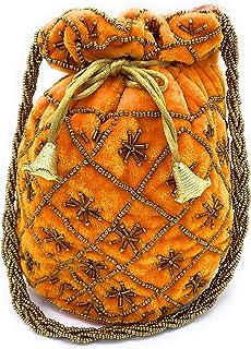 ADORA FASHION INDIAN HANDMADE POTLI/POUCH/CLUTCH ROUND SHAPE BAG FOR WOMEN ADORA ACI 110 ORANGE