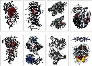 GGSELL Temporary Tattoos Stickers(Set of 8) Spirit Animals, Wolf/Lion/Totem Waterproof Body Art Animal Tattoos
