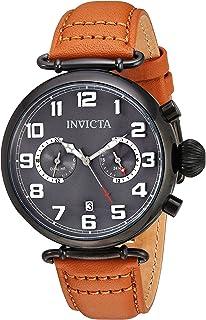 Invicta Men's Aviator Stainless Steel Quartz Watch with Leather Calfskin Strap, Beige, 20 (Model: 22983