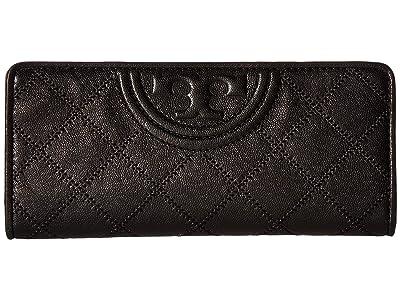 Tory Burch Fleming Distressed Slim Envelope Wallet (Black) Wallet Handbags