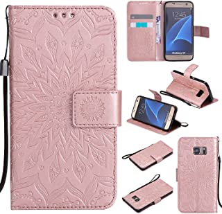 Cfrau Kickstand Wallet Case for Samsung Galaxy S7,Retro Mandala Sunflower PU Leather Magnetic Flip Folio Stand Soft Silicone Card Slots Wrist Strap Case with Black Stylus - Rose Gold