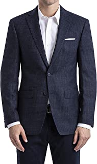 Calvin Klein Men's Slim Fit, Two-Button Jacket, Notch Lapel, Pick Stitch, Flat Front, Navy, 38 Regular