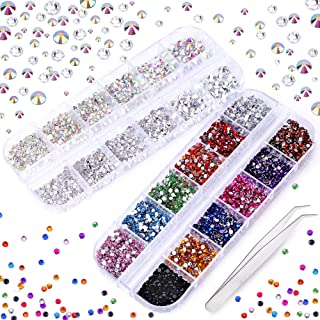 3000 PCS Rhinestones for Craft, Phogary AB Rhinestones Flat Back 7 Sizes (1.5-5 mm) 13 Colors with Pick Up Tweezer for Crafts Nail Face Art Clothes Shoes Bags Phone Case DIY