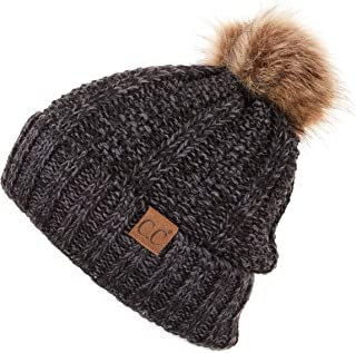 C.C Exclusives Fuzzy Lined Knit Fur Pom Beanie Hat (YJ-820)