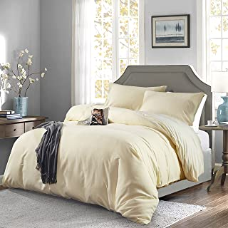 OAITE Duvet Cover,Protects and Covers Your Comforter/Duvet Insert,Luxury 100% Super Soft Microfiber,Queen Size,Color Cornsilk,3 Piece Duvet Cover Set Includes 2 Pillow Shams