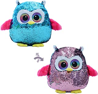 Athoinsu Flip Sequin Owl Stuffed Animal Throw Pillow Glitter Plush Cushion Sparkle Gifts for Kids Toddlers, 13''