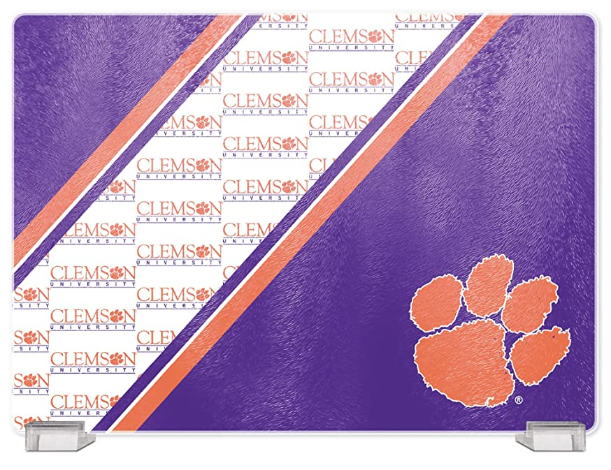 NCAA Clemson Tigers Tempered Glass Cutting Board with Display Stand