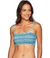 Hope Bay Stripe Smocked Bikini Bandeau
