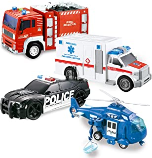JOYIN 4 Pack Friction Powered City Hero Play Set Including Fire Engine Truck, Ambulance, Police Car and Helicopter Emergency Vehicles with Light and Sound