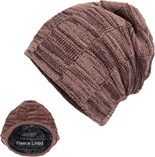 niyokki Fleece Lined Knit Beanie Hats for Women Men,Fashion Solid Color Winter Hats for Teens,Weave Warm Soft Caps