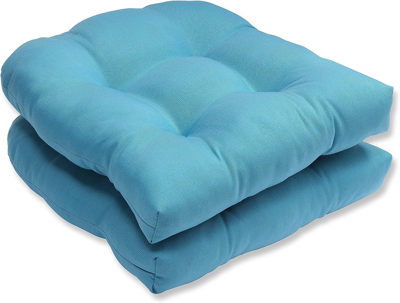 Pillow Perfect Outdoor Indoor Tweed Wicker Seat Cushion (Set of 2), Aqua