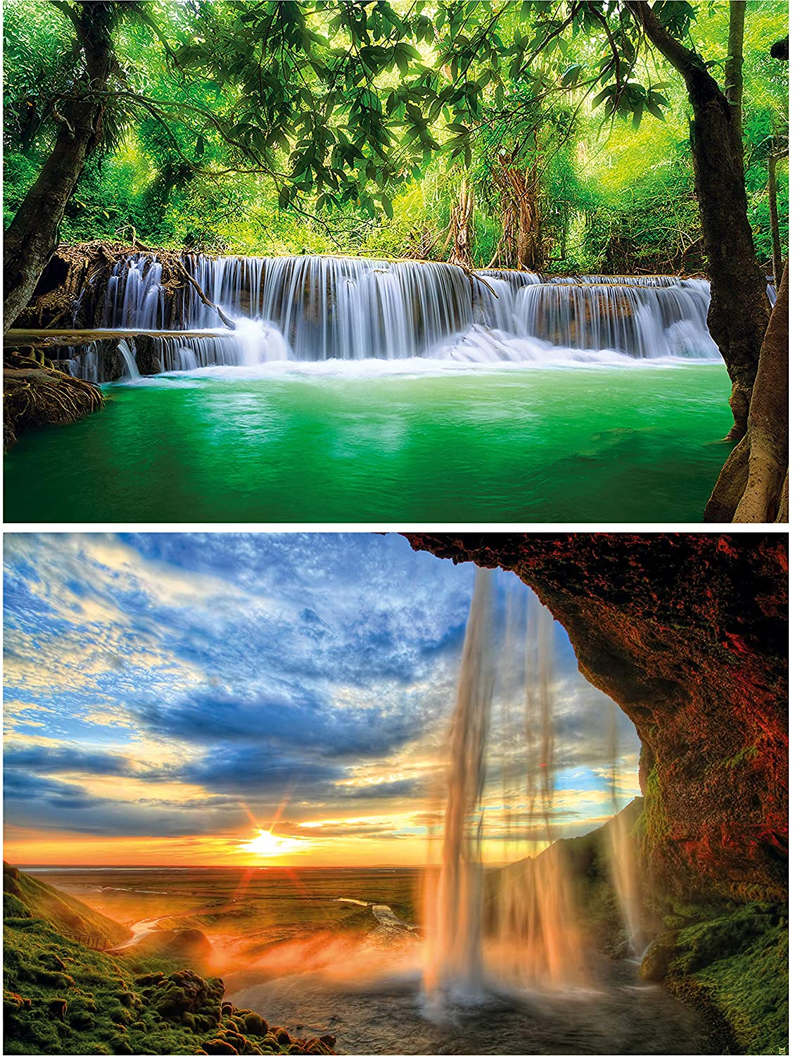 GREAT ART Set Soldering of Max 71% OFF 2 XXL Paradise Waterfalls – Sunrise Posters