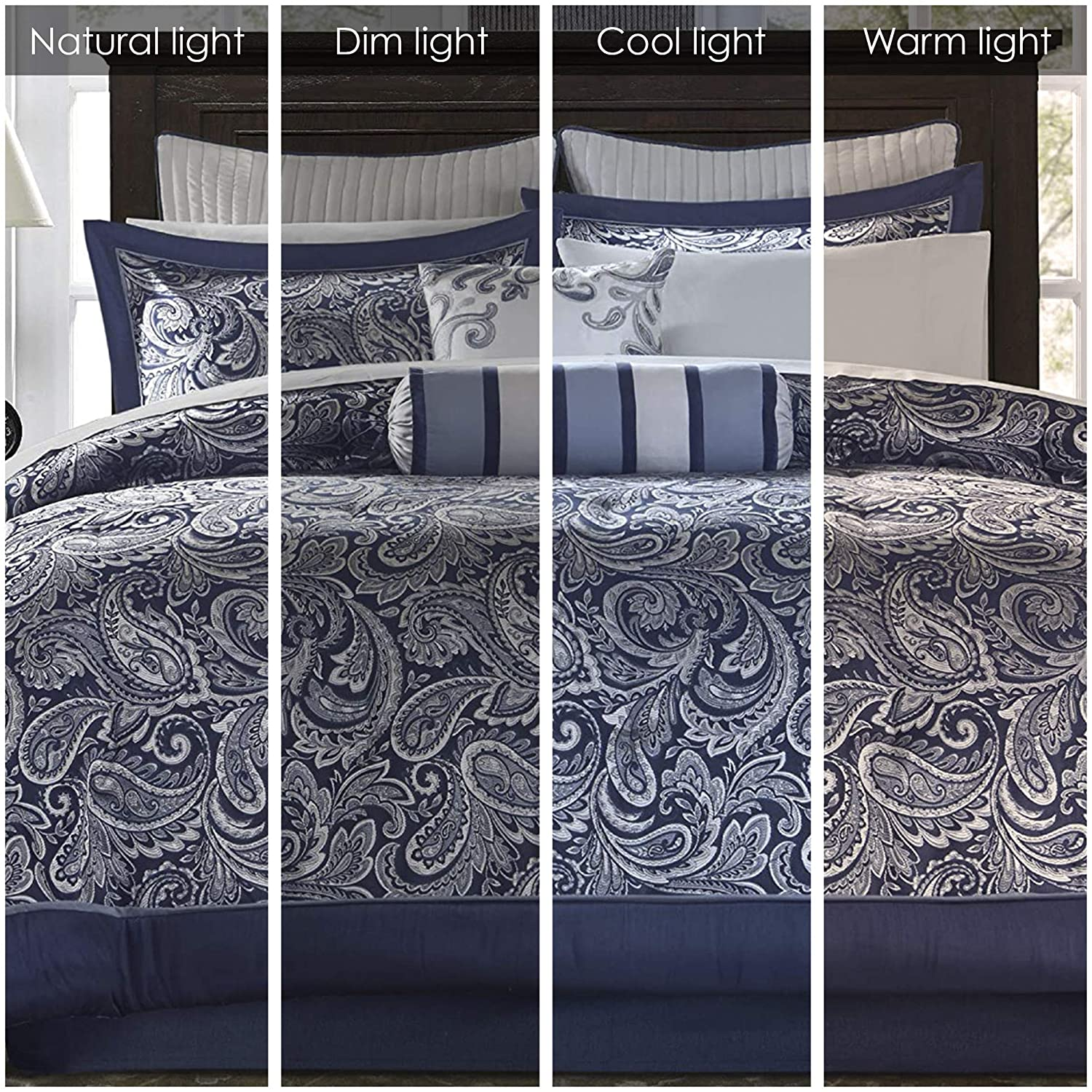 Madison Park Aubrey King Size Bed Comforter Set Bed In A Bag - Navy, Grey , Paisley Jacquard – 12 Pieces Bedding Sets – Ultra Soft Microfiber Bedroom Comforters : Home & Kitchen