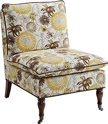 Linon Home Décor Simpson Floral Pillow Top Slipper Chair, Ivory