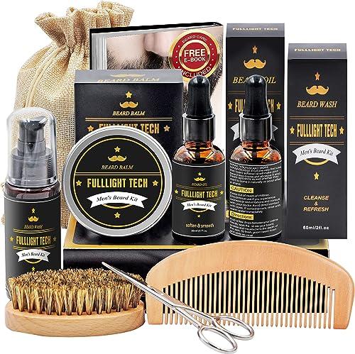 Kit De Coffret Coin Barbe Homme Complet Produit avec Shampoing Barbe,Huile Barbe,Peigne,Brosse a Barbe,Ciseaux,Baume ...