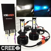 (2 COLORS IN 1 SET) H7 6000K White 10000K Blue (Low Beam Headlight) CREE COB LED Xenon Conversion Kit 8000 Lumen 80W USA