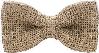 Burlap Pre-Tied Bow Tie Solid Hessian Rustic Linen Hemp Bagging, by Bow Tie House