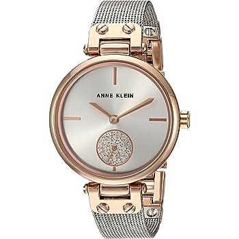 Anne Klein Women's Swarovski Crystal Accented Mesh Bracelet Gold-Tone Watch