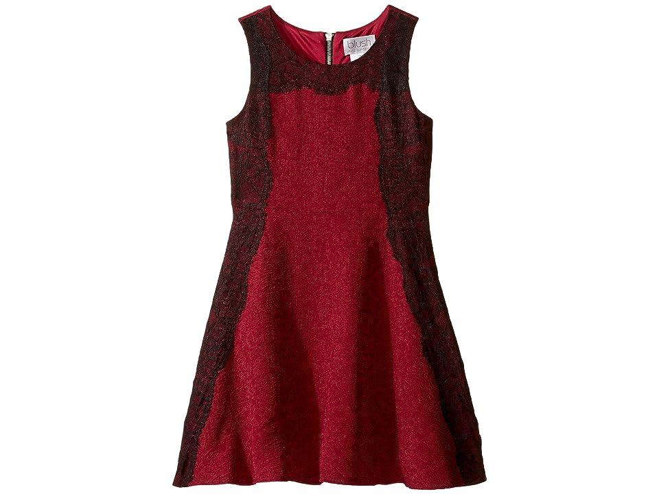 Us Angels Sleeveless A-line Dress w/ Lace Trim (Big Kids) (Cranberry) Girl