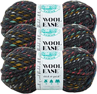 (3 Pack) Lion Brand Yarn 640-618 Wool-Ease Thick and Quick Yarn, Bedrock