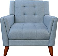 Christopher Knight Home Alisa Mid Century Modern Fabric Arm Chair, Blue, Walnut