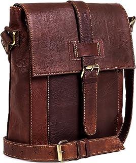 """Goatter Original Leather Unisex Messenger Bag, (Brown 12""""Inch)"""