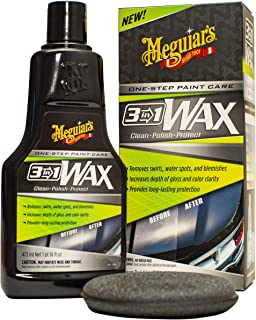 Meguiar's 3-in-1 Wax - Clean, Polish, Protect - One-Step Paint Care Car Wax 473 mL with 1 Foam Pad - G191016C