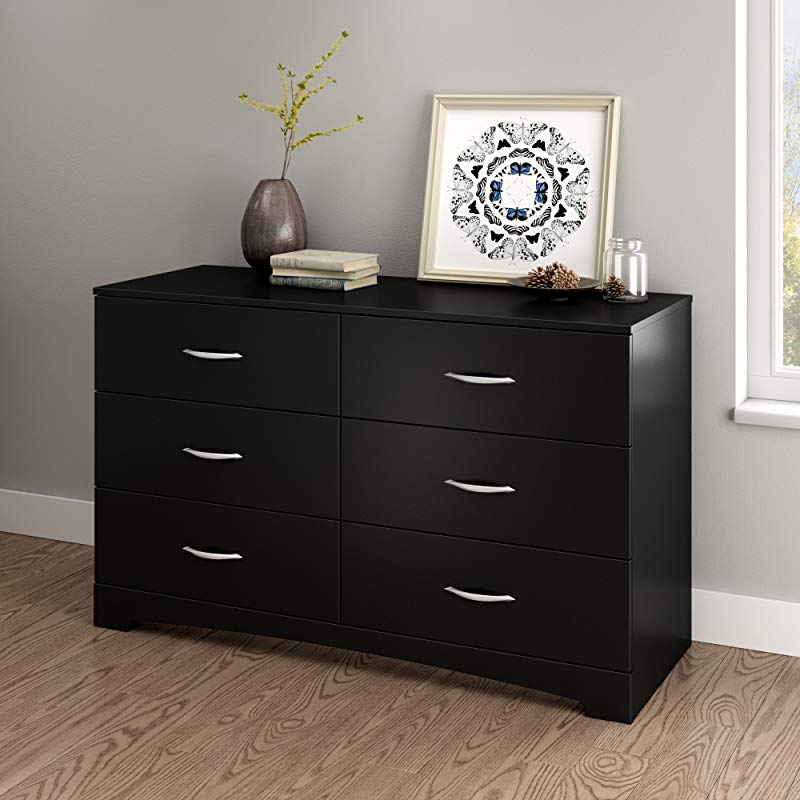 South Shore Step One 6 Drawer Double Dresser Pure Black With Matte Nickel Handles