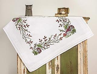 Kamaca Stickpackung Tischdecke FLIEGENPILZ Kreuzstich vorgezeichnet aus Baumwolle Stickset mit Stickvorlage Mitteldecke 80x80 cm