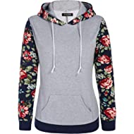ACEVOG Women's Floral Printed Long Sleeve Hooded Pullover Hoodies Sweatshirt